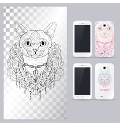 Black and white animal cat head boho style vector