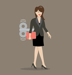 Business woman with wind up key in her back vector