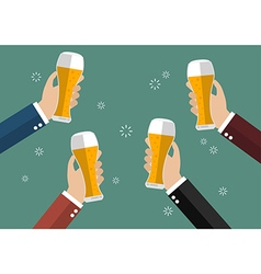 Businessmen toasting glasses of beer vector