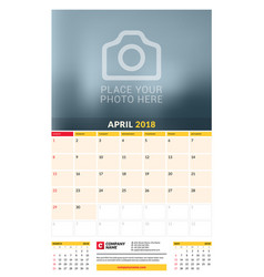 Calendar planner template for 2018 year april vector