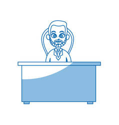 Character doctor man desk chair working vector