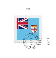 Fiji flag postage stamp vector