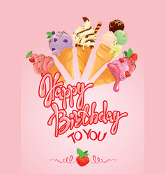Greeting card with ice cream cones on pink vector
