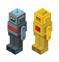 Isometric robots isolated on white background vector