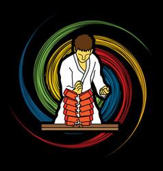 Karate man breaking bricks graphic vector