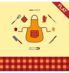 Kitchenware Set of icons and seamless pattern vector image vector image