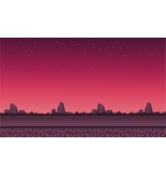Landscape rock with red sky vector image