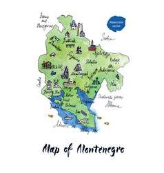 map of montenegro watercolor vector image vector image