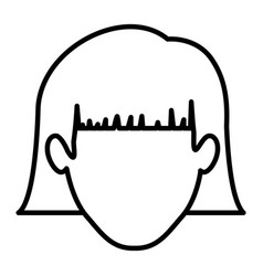 Monochrome contour of faceless woman with short vector