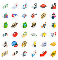 New business icons set isometric style vector