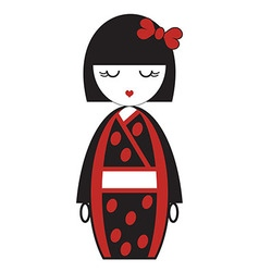 Oriental Japanese geisha doll with kimono with vector image vector image
