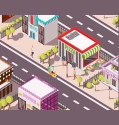 pizzeria isometric background vector image vector image