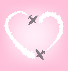 Plane with smoke in the form of heart card for vector