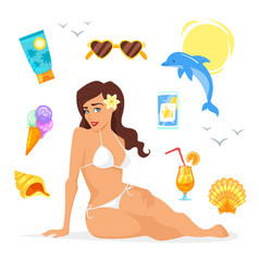 Pretty woman in bikini vector