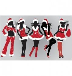 set of beautiful Christmas girls vector image vector image