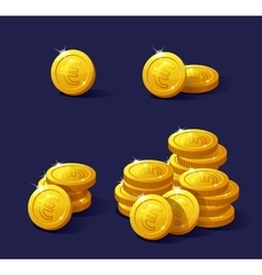 Set of cartoon coin for web and apps stack euro vector