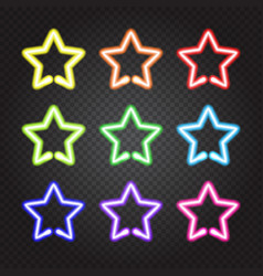 set of glowing neon lights colorful stars vector image vector image