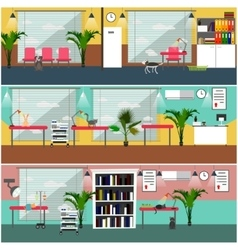 Set of veterinary clinic interior concept vector
