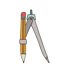 Silhouette colorful of compass with pencil vector