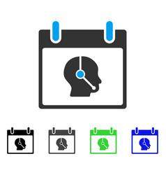 Telemarketing operator calendar day flat icon vector
