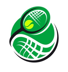 Tennis ball and racquet icon vector image vector image