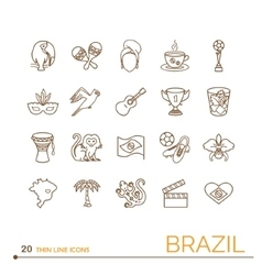 Thin line icons Brazil vector image vector image