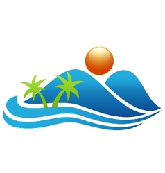 Tropical island icon vector
