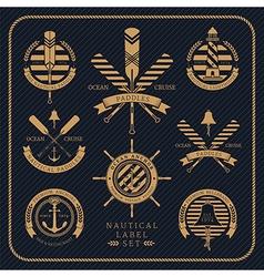 Vintage nautical label set on dark striped vector
