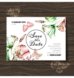 Vintage wedding invitation with flowers save the vector