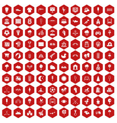 100 childrens playground icons hexagon red vector