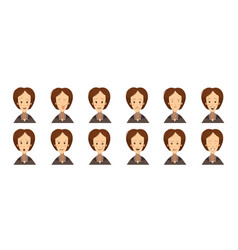 Female emotions avatars set cartoon style vector