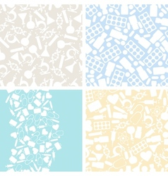 Medical and health care set of 4 seamless patterns vector image