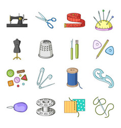 scissors thimble sewing machine and other items vector image