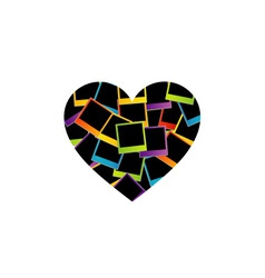 Heart with colorful polaroids vector