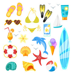 cartoon style set of summer objects vector image