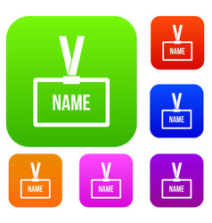 Plastic name badge with neck strap set collection vector