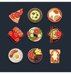 Set of traditional food icons vector
