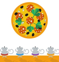 Allow the mice to eat big and tasty pizza vector