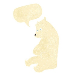 Cartoon happy polar bear with speech bubble vector