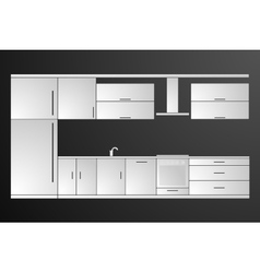 Kitchen cover with fridge stove dishwasher vector