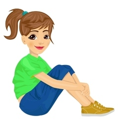 Young teenager girl sitting on the floor vector