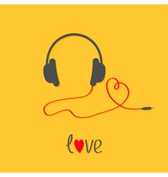 Headphones and red cord in shape of heart black vector