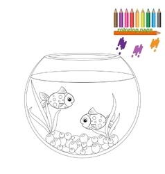 Coloring page two fishes in the round aquarium vector