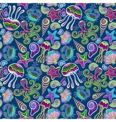 Hand drawn seamless pattern with jellyfish vector