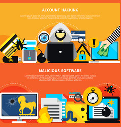 Account hacking horizontal banners vector