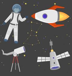 astronaut space landing spaceship future vector image vector image