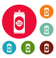 beer can icons circle set vector image