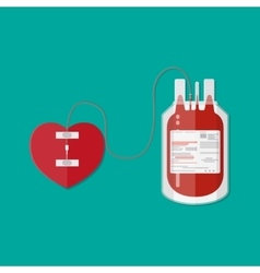 Blood bag and heart donation vector