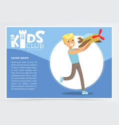 Blue poster for kids club with smiling boy vector