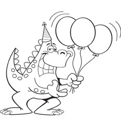 Cartoon dinosaur holding balloons vector image